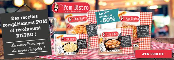 Pom Bistro s'engage à élaborer des recettes faites à partir d'ingrédients de qualité et de pommes de terre rigoureusement choisies, afin de tenir sa promesse de saveurs et de plaisirs gourmands, et s'associe également aux Meilleurs Ouvriers de France pour vous proposer des créations culinaires aux saveurs inédites et aux couleurs de leur terroir.  Cuisiné à Agen, sans colorant, sans conservateur, sans arôme artificiel, ni additif ajouté