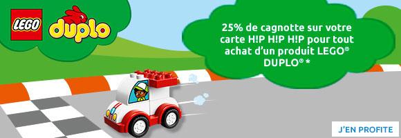 Jusqu'au 24 mars, profitez des Baby Folie's et cagnottez 25% sur votre carte de fidélité, sur une sélection de jouets LEGO® DUPLO®