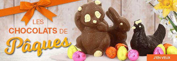 Préparez les fêtes de Pâques ! Organisez une chasse aux oeufs ! Découvrez une gamme complète de chocolats et de chocolats bio : lapins, poules, oeufs, poissons,  friture au chocolat noir, au chocolat au lait ou au chocolat blanc. Dans la limite des stocks disponibles.