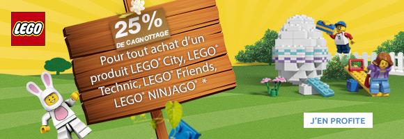Cagnottez 25% sur les LEGO® City, LEGO® Ninjago, LEGO® Friends, LEGO® Technic. C'est le moment d'en profiter, ça ne dure que jusqu'au 21 avril