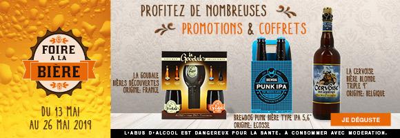 Du 13 Mai au 26 Mai 2019, à l'occasion de La Foire à la Bière, profitez de nombreuses promotions sur nos coffrets et packs. L'abus d'alcool est dangereux pour la santé, consommez avec modération.