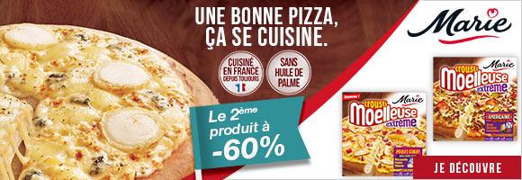 Découvrez les pizzas Crousti'moelleuses de Marie. Pourquoi c'est très bien fait : Parce que Marie sélectionne des ingrédients de qualité : de la farine 100% origine France et de la volaille et du boeuf nés, élevés et préparés en France. Parce que la pâte à pain est pétrie dans nos ateliers le jour-même et cuite sur pierre dans nos ateliers. Et parce qu'une bonne pizza c'est aussi une sauce qui a du goût, cuisinée par notre chef. Sans huile de palme, pour avoir la recette la plus simple et savoureuse possible. Et c'est ça qui est bon