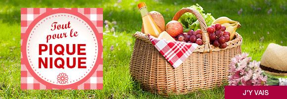 Tout pour un pique-nique réussi : salades, sandwich, fruits, accessoires...