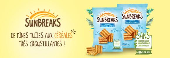 Découvrez les délicieuses tuiles Sunbreaks. Elles sont élaborées avec des céréales complètes : du maïs, du blé et de l'avoine. Elles sont ensuite cuites au four puis assaisonnées.