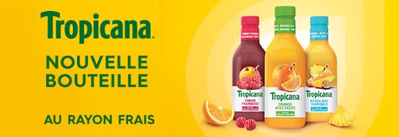 La nouvelle bouteille transparente Tropicana est chez houra au rayon frais. Profitez d'une 3e bouteille offerte pour l'achat de 2 du 20 mai au 2 juin.