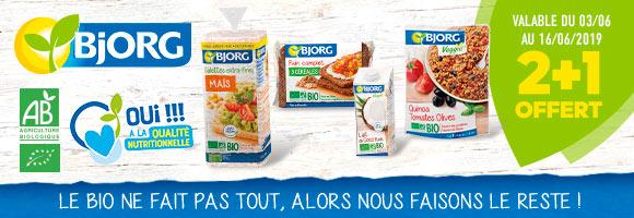 Bjorg propose une sélection de recettes et de produits pour vous aider à adopter une alimentation saine, équilibrée et bio au quotidien. Profitez d'une sélection de promotions du 3 au 16 juin 2019. Dans la limite des stocks disponibles.