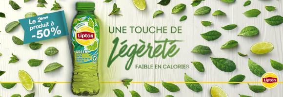 Profitez d'une touche de légèreté faible en calorie avec LIPTON GREEN et le deuxième produit à -50%