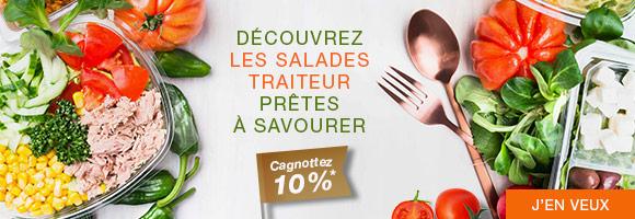 A chaque moment de la journée, retrouvez nos recettes savoureuses de salades traiteur. Crudités à  partager, ou pour vos pauses déjeuner.  *Profitez de 10% de cagnottage sur une sélection de produits.