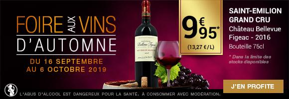 Du 16 septembre au 6 octobre 2019, profitez de la Foire Aux Vins d'automne sur une sélection de vins en promo ! Pour l'occasion, découvrez le SAINT-EMILION GRAND CRU Château Bellevue Figeac 2016 à 9,95€*  * Dans la limite des stocks disponibles