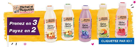 Découvrez les yaourts Vache à boire Michel et Augustin, concoctés avec amour en France.