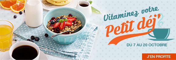 Un petit déjeuner équilibré est indispensable à un bon équilibre alimentaire.  Il nous permet de faire le plein d'énergie pour bien démarrer la journée.  Il se compose idéalement d'un produit fruité, d'un produit céréalier,  d'un produit laitier et d'une boisson. Aussi, du 7 au 20 octobre,  composez votre petit déjeuner à partir d'un large choix de produits :  céréales, laitages, fruits, oeufs, jus de fruits, etc.