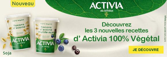 Découvrez la nouvelle recette Activia végétale, alliant la douceur du soja et de délicieux flocons d'avoine. Un Produit 100% végétal, un petit plaisir 100% gourmand !