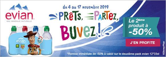 Prêts, partez, buvez ! avec Evian Du 4 au 17 novembre profitez d'une remise immédiate de -50 % sur le second article pack evian 12*33cl sur houra.fr