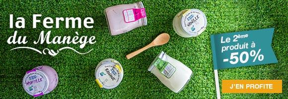 Retrouvez les promotions sur les yaourts de La ferme du Manège, des yaourts au lait du jour fabriqués à la ferme. Chaque jour, après la traite, le lait des vaches est directement utilisé pour produire les yaourts.  C'est la fraicheur de ce lait, qui a conservé toutes ses qualités nutritionnelles, qui rend ces yaourts si doux et onctueux.