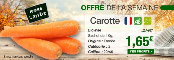 Profitez de notre offre de la semaine sur la carotte BIO