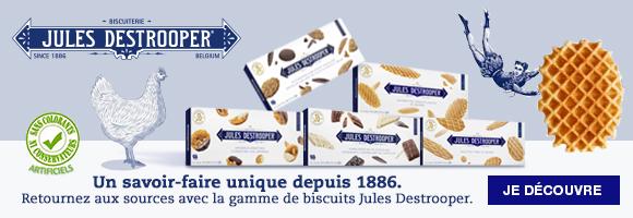 Jules Destrooper vous propose un retour aux sources grâce à un savoir faire unique depuis 1886. En véritable artisan biscuitier Jules Destrooper est fier de la richesse de son héritage, et est paré pour l'avenir grâce à ses recettes de biscuits de qualité supérieure et sans additifs. Dans la limite des stocks disponibles.