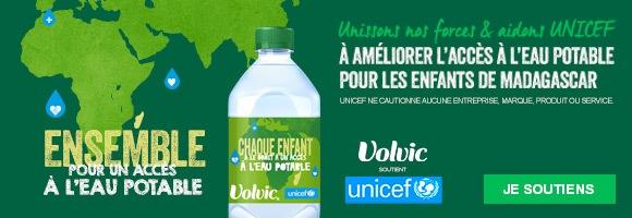 Pour tout litre Volvic porteur du logo UNICEF acheté, au moins 0,003€ seront reversés par Volvic à UNICEF jusqu'en décembre 2021, pour un montant total minimum d'1,5 million d'euros. Les fonds collectés aideront UNICEF à donner un meilleur accès à l'eau à plus de 100 000 personnes à Madagascar, permettant aux enfants d'être en meilleure santé, de grandir et de s'épanouir.