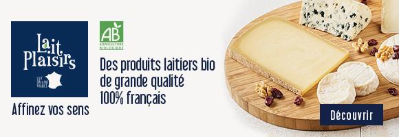 La marque Lait Plaisirs propose une large gamme de produits laitiers bio 100% origine France de grande qualité. Affinez vos sens grâce aux produits à base de laits de vache, de brebis et de chèvre. Lait Plaisirs offre un large assortiment de fromages, de yaourts, de beurres, de laits ou encore de crèmes pour des expériences gustatives et sensorielles uniques.