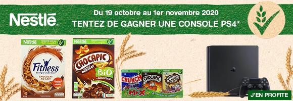 Le petit-déjeuner est le repas le plus important. Un petit-déjeuner équilibré vous aide à bien démarrer la journée. Cereal Partners vous propose une sélection de céréales variées pour toute la famille afin de pouvoir varier les recettes chaque jour : céréales complètes, céréales bio, céréales chocolatées. Du 19 octobre au 1er novembre 2020 tentez de gagner une console PS4 pour l'achat de 3 paquets de céréales de la gamme Nestlé Voir le règlement*