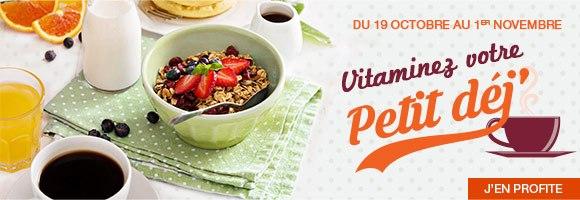 Un petit déjeuner équilibré est indispensable à un bon équilibre alimentaire. Il nous permet de faire le plein d'énergie pour bien démarrer la journée. Il se compose idéalement d'un produit fruité, d'un produit céréalier, d'un produit laitier et d'une boisson. Aussi, du 19 octobre au 1er novembre, composez votre petit déjeuner à partir d'un large choix de produits : céréales, laitages, fruits, oeufs, jus de fruits, etc.