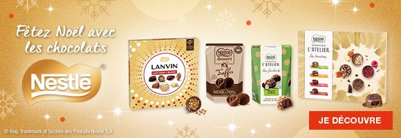 Fêtez Noël avec les chocolats Nestlé. Découvrez une grande variété de saveurs : chocolat noir, chocolat au lait ou praliné, chocolat blanc ou saveurs de fruits et différentes recettes : Escargot Lanvin, Truffes Nestlé Dessert, Truffes les Recettes de L'Atelier, boîtes d'assortiments dans des écrins prestigieux. Choisissez vos chocolats favoris et pensez aussi à les offrir ! Dans la limite des stocks disponibles.