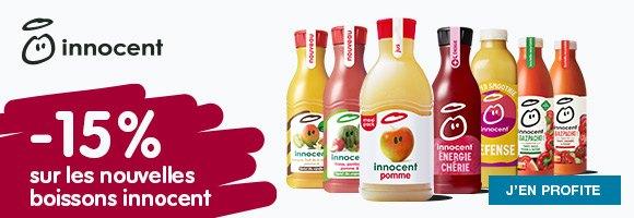 Innocent, des boisson délicieuses et 100 % naturelles pour faire le plein d'énergie et de bonne humeur. 15 % de remise immédiate sur la sélection de l'été.