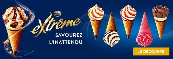 Originales ou créatives, les glaces Extrême offre toujours la recette du succès : une glace onctueuse, une sauce généreuse, des inclusions gourmandes, le tout dans une gaufrette croustillante, et pour finir, le délicieux bonbon EXTREME au chocolat