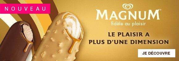 Nouveau Magnum Double Gold Caramel Billionaire c'est la rencontre exaltante d'éclats de biscuits croquants et d'un chocolat Gold craquant : un chocolat blanc au caramel, enveloppant une sauce onctueuse au caramel salé révélant un double tourbillon de glaces. Il invitera les amateurs de plaisir à vivre une expérience sensorielle de glace inégalée. Découvrez toute la gamme de glaces Magnum et laissez-vous emporter par un tourbillon de plaisir.   Le chocolat Magnum craquant est élaboré à partir de fèves de cacao soigneusement sélectionnées et issues d'un approvisionnement durable, certifiées Rainforest Alliance.
