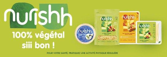 Découvrez Nurishh, votre nouveau partenaire culinaire végétal pour agrémenter vos préparations à chaud ou à froid. Une source de calcium et de vitamine B-12, sans lactose, sans OMG, sans soja, sans gluten et sans huile de palme.