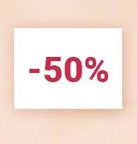 Moins 50%
