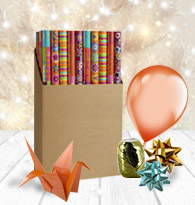 Papier cadeaux, accessoires de fête