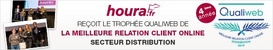 houra.fr reçoit le trophée Qualiweb de la meilleure relation client online secteur distribution.